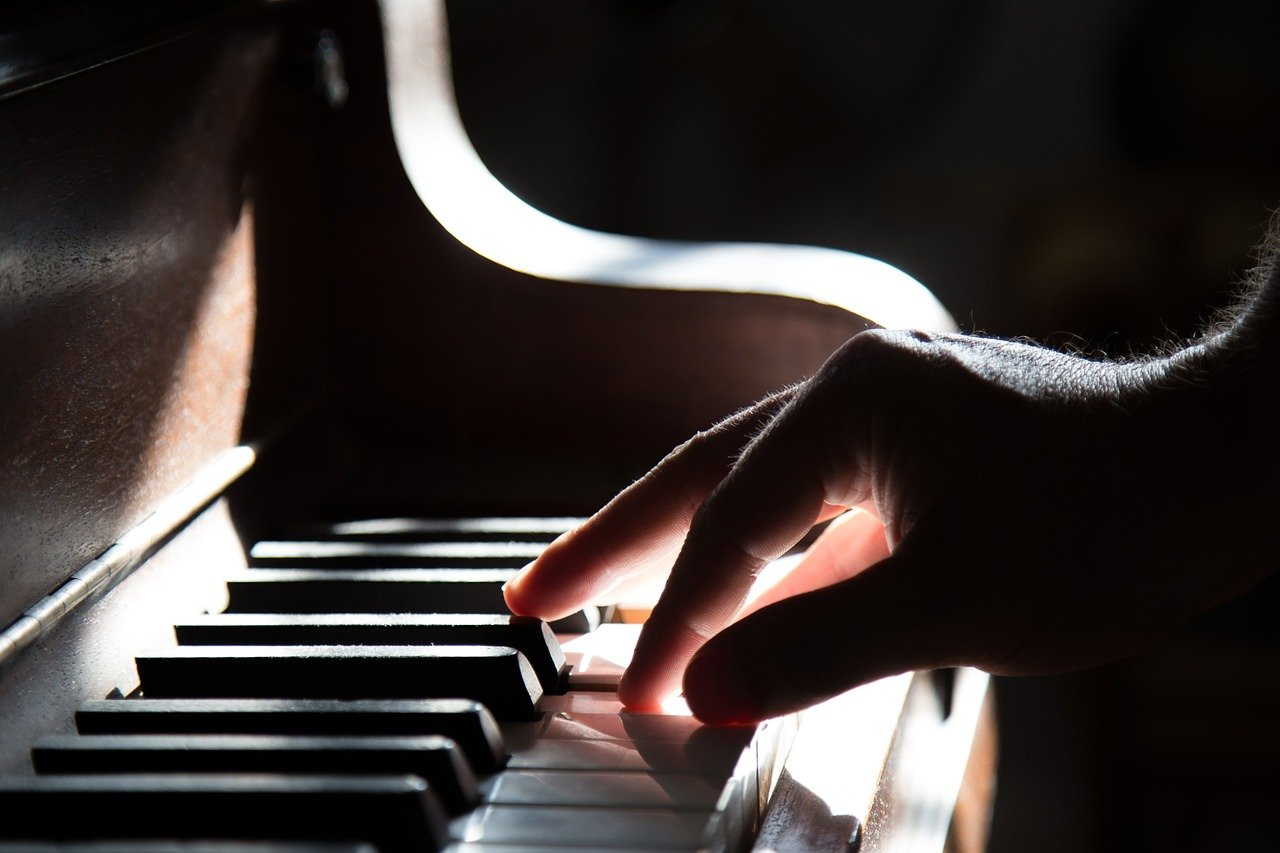 piano, hand, playing